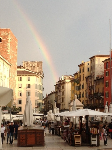 a rainbow from the town square