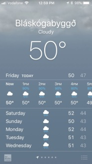 iPhone screenshot of wet weather forcast